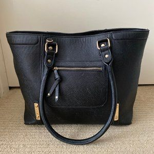 Black Faux Leather and Gold Hardware Tote